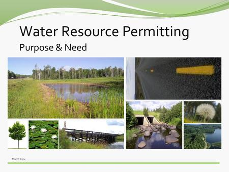 March 2014 Water Resource Permitting Purpose & Need.
