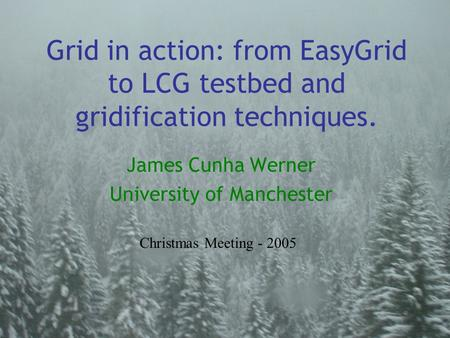 Grid in action: from EasyGrid to LCG testbed and gridification techniques. James Cunha Werner University of Manchester Christmas Meeting - 2005.