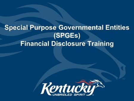 Special Purpose Governmental Entities (SPGEs) Financial Disclosure Training.