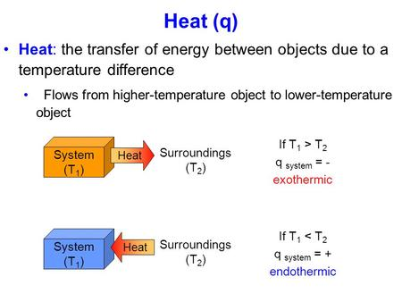 Heat (q) Heat: the transfer of energy between objects due to a temperature difference Flows from higher-temperature object to lower-temperature object.