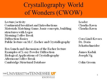 1 Crystallography World of Wonders (CWOW). 2 Claudia J. Rawn University of Tennessee New Mexico Museum of Natural History and Science May.