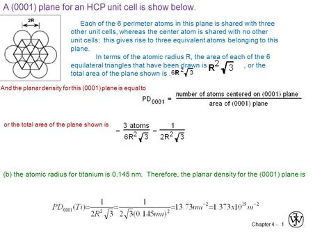 A (0001) plane for an HCP unit cell is show below.