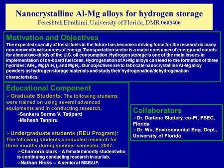 Nanocrystalline Al-Mg alloys for hydrogen storage Fereshteh Ebrahimi, University of Florida, DMR 0605406 Motivation and Objectives The expected scarcity.