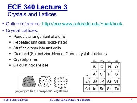 © 2013 Eric Pop, UIUCECE 340: Semiconductor Electronics ECE 340 Lecture 3 Crystals and Lattices Online reference: