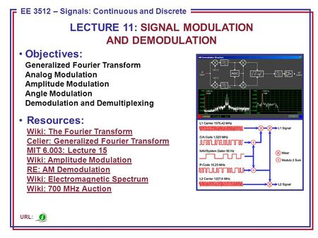 ECE 8443 – Pattern Recognition EE 3512 – Signals: Continuous and Discrete Objectives: Generalized Fourier Transform Analog Modulation Amplitude Modulation.