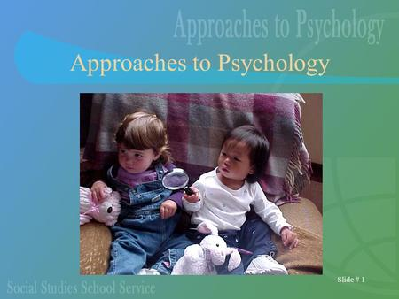 Slide # 1 Approaches to Psychology. Slide # 2 The Different Approaches The problems you wish to investigate are tied to a number of theoretical approaches.