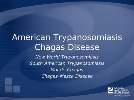 American Trypanosomiasis Chagas Disease New World Trypanosomiasis South American Trypanosomiasis Mal de Chagas Chagas-Mazza Disease.