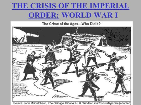 THE CRISIS OF THE IMPERIAL ORDER: WORLD WAR I. Alliances.