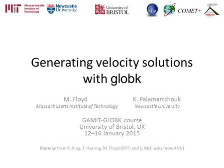 Generating velocity solutions with globk