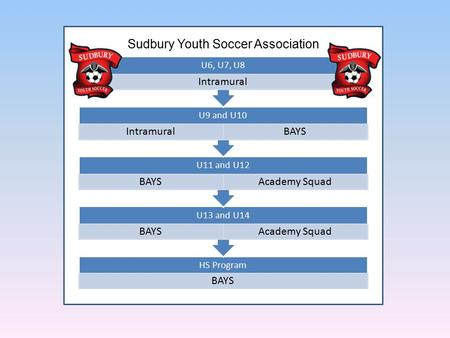 HS Program BAYS U13 and U14 BAYSAcademy Squad U11 and U12 BAYSAcademy Squad U9 and U10 IntramuralBAYS U6, U7, U8 Intramural Sudbury Youth Soccer Association.
