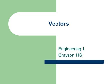 Vectors Engineering I Grayson HS. Vectors A scalar is a physical quantity that has only magnitude and no direction. – Length – Volume – Mass – Speed –
