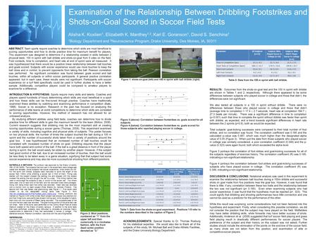 Examination of the Relationship Between Dribbling Footstrikes and Shots-on-Goal Scored in Soccer Field Tests Alisha K. Koxlien 1, Elizabeth K. Manthey.