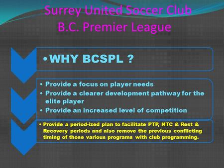Surrey United Soccer Club B.C. Premier League WHY BCSPL ? Provide a focus on player needs Provide a clearer development pathway for the elite player Provide.