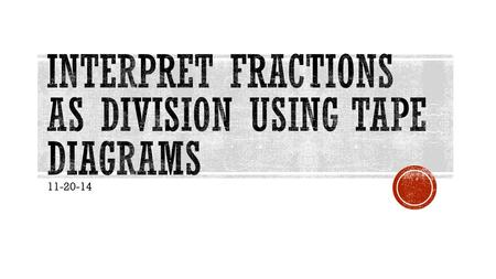 Interpret Fractions as Division using tape diagrams
