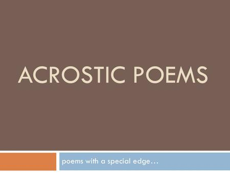 poems with a special edge…