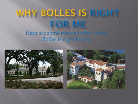 Here are some reasons why I think Bolles is right for me.