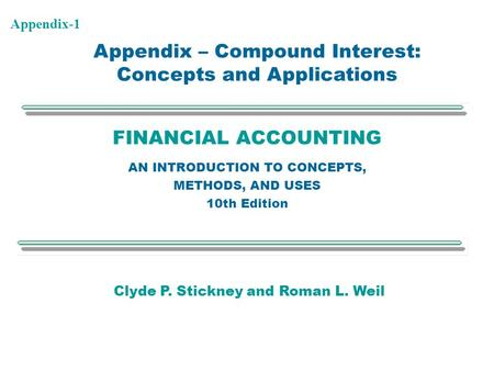 Appendix – Compound Interest: Concepts and Applications