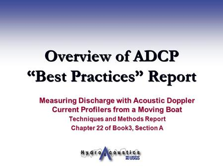 "Overview of ADCP ""Best Practices"" Report"