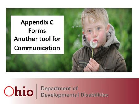 March 2014 Webinars Hosted by DODD and OACB Appendix C Forms Another tool for Communication.