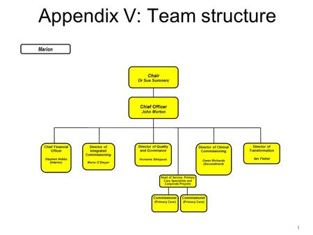 1 Appendix V: Team structure. 2 JOINT COMMISSIONING BARNET CCG.