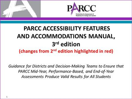 Guidance for Districts and Decision-Making Teams to Ensure that PARCC Mid-Year, Performance-Based, and End-of-Year Assessments Produce Valid Results for.