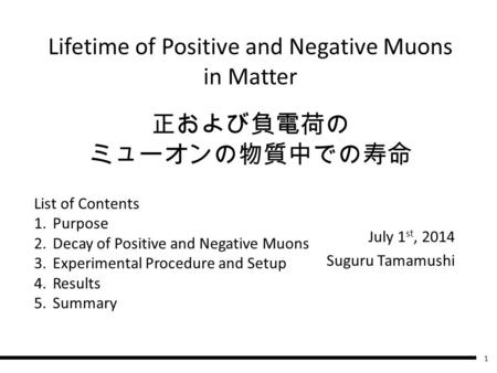 正および負電荷の ミューオンの物質中での寿命 July 1 st, 2014 Suguru Tamamushi List of Contents 1.Purpose 2.Decay of Positive and Negative Muons 3.Experimental Procedure and.