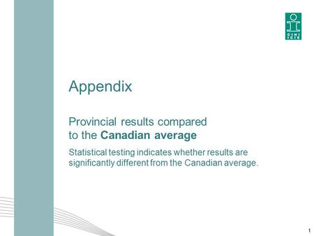 Appendix Provincial results compared to the Canadian average Statistical testing indicates whether results are significantly different from the Canadian.