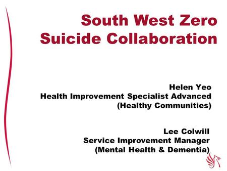 Helen Yeo Health Improvement Specialist Advanced (Healthy Communities) South West Zero Suicide Collaboration Lee Colwill Service Improvement Manager (Mental.
