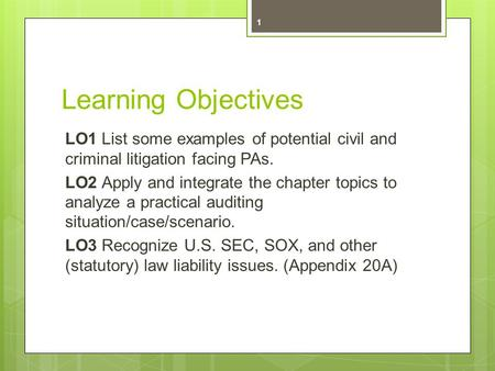 Learning Objectives LO1 List some examples of potential civil and criminal litigation facing PAs. LO2 Apply and integrate the chapter topics to analyze.
