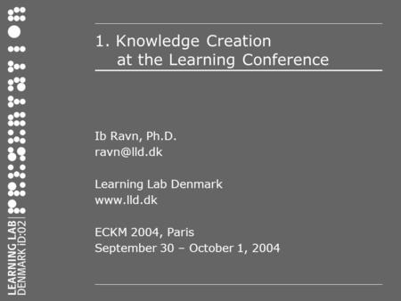 1. Knowledge Creation at the Learning Conference Ib Ravn, Ph.D. Learning Lab Denmark  ECKM 2004, Paris September 30 – October 1,