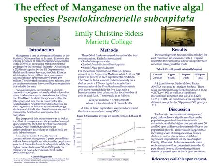 The effect of Manganese on the native algal species Pseudokirchneriella subcapitata Emily Christine Siders Marietta College Introduction Manganese is one.