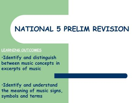 NATIONAL 5 PRELIM REVISION