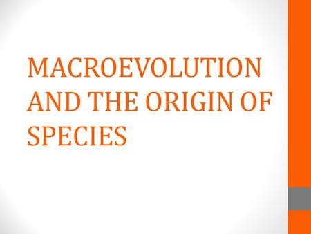 MACROEVOLUTION AND THE ORIGIN OF SPECIES