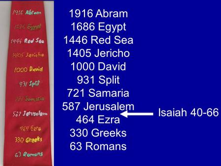 1916 Abram 1686 Egypt 1446 Red Sea 1405 Jericho 1000 David 931 Split 721 Samaria 587 Jerusalem 464 Ezra 330 Greeks 63 Romans Isaiah 40-66.