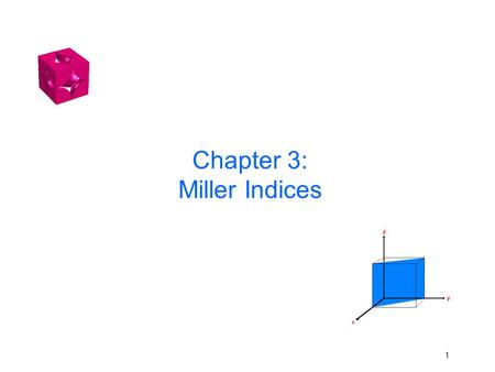 Chapter 3: Miller Indices