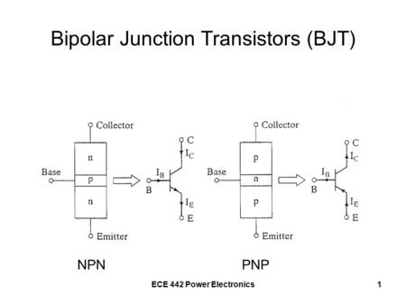 ECE 442 Power Electronics1 Bipolar Junction Transistors (BJT) NPNPNP.