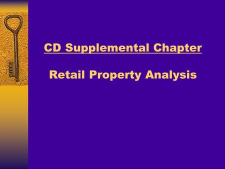 CD Supplemental Chapter Retail Property Analysis.
