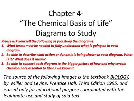 "Chapter 4- ""The Chemical Basis of Life"" Diagrams to Study"