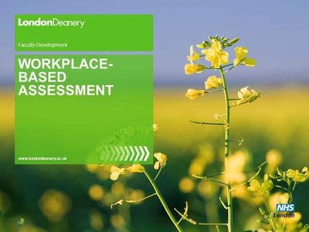 Www.londondeanery.ac.uk Faculty Development WORKPLACE- BASED ASSESSMENT.