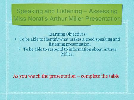 Speaking and Listening – Assessing Miss Norat's Arthur Miller Presentation Learning Objectives: To be able to identify what makes a good speaking and listening.