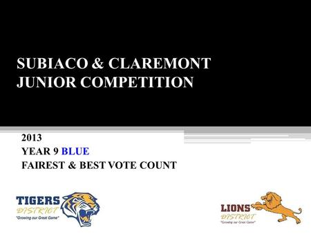 SUBIACO & CLAREMONT JUNIOR COMPETITION 2013 YEAR 9 BLUE FAIREST & BEST VOTE COUNT.