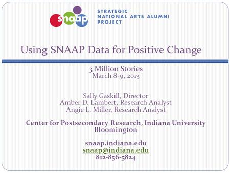 Using SNAAP Data for Positive Change 3 Million Stories March 8-9, 2013 Sally Gaskill, Director Amber D. Lambert, Research Analyst Angie L. Miller, Research.