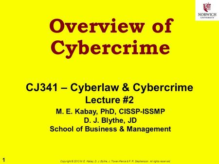 1 Copyright © 2013 M. E. Kabay, D. J. Blythe, J. Tower-Pierce & P. R. Stephenson. All rights reserved. Overview of Cybercrime CJ341 – Cyberlaw & Cybercrime.