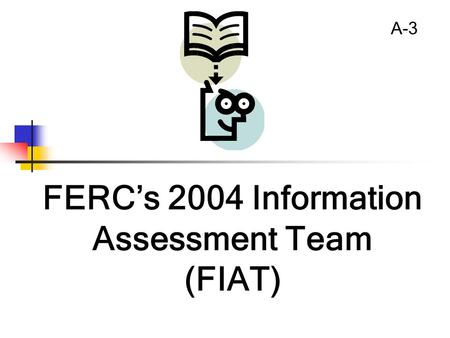 FERC's 2004 Information Assessment Team (FIAT) A-3.