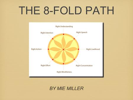 THE 8-FOLD PATH BY MIE MILLER. RIGHT UNDERSTANDING Learning about and accepting the reality and truth about your life.