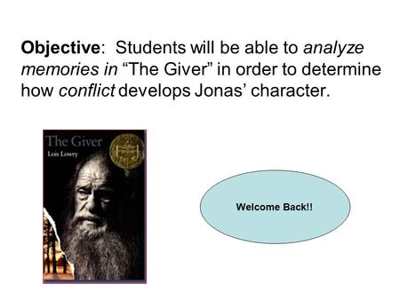 "Objective: Students will be able to analyze memories in ""The Giver"" in order to determine how conflict develops Jonas' character. Welcome Back!!"