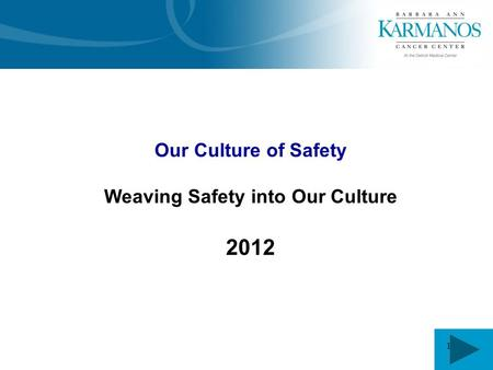 1 Our Culture of Safety Weaving Safety into Our Culture 2012.