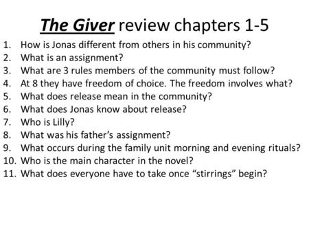 The Giver review chapters 1-5