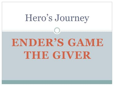 ENDER'S GAME THE GIVER Hero's Journey. Ender's Game The Giver Ender was a third. He was different, very special. His brother, Peter, was mean to him where.