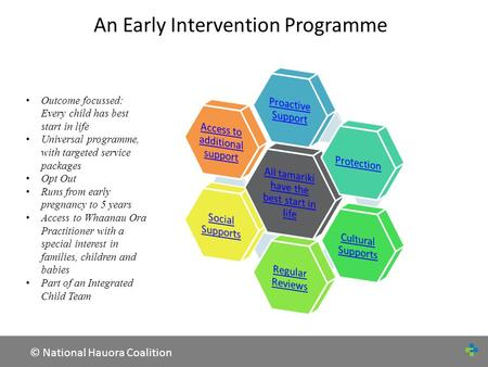 © National Hauora Coalition An Early Intervention Programme Outcome focussed: Every child has best start in life Universal programme, with targeted service.
